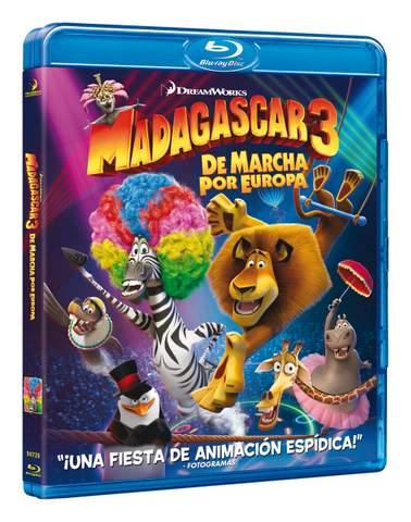 Madagascar 3. Carátula del Blu-ray.