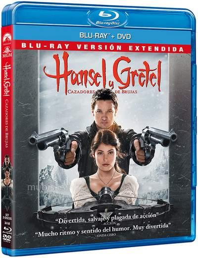 "Carátula Blu-ray de ""Hansel & Gretel, cazadores de brujas""."