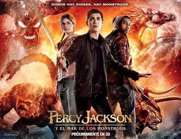 """Cartel de """"Percy Jackson y el Mar de los Monstruos""""."""